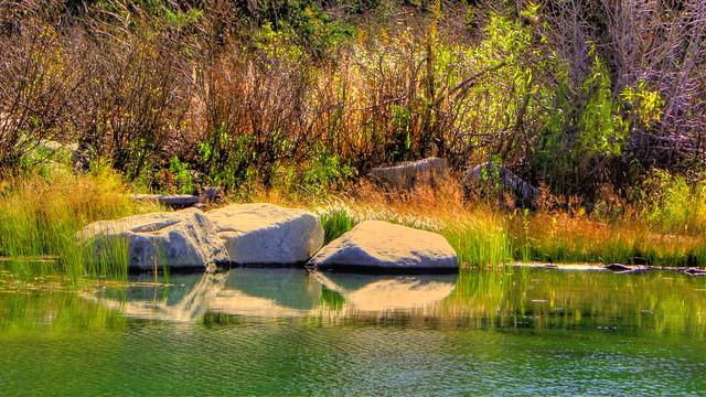 Three Rocks with Grass