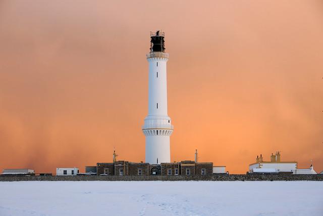 Approaching snowstorm at Girdle Ness lighthouse, Aberdeen, Scotland