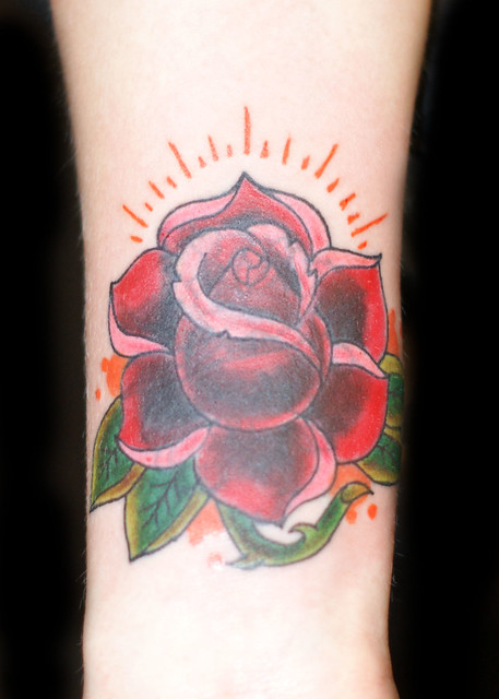 New School Red Rose CustomTattoo (Cover Up)