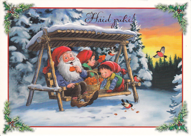 Gnome & Kids Christmas Postcard