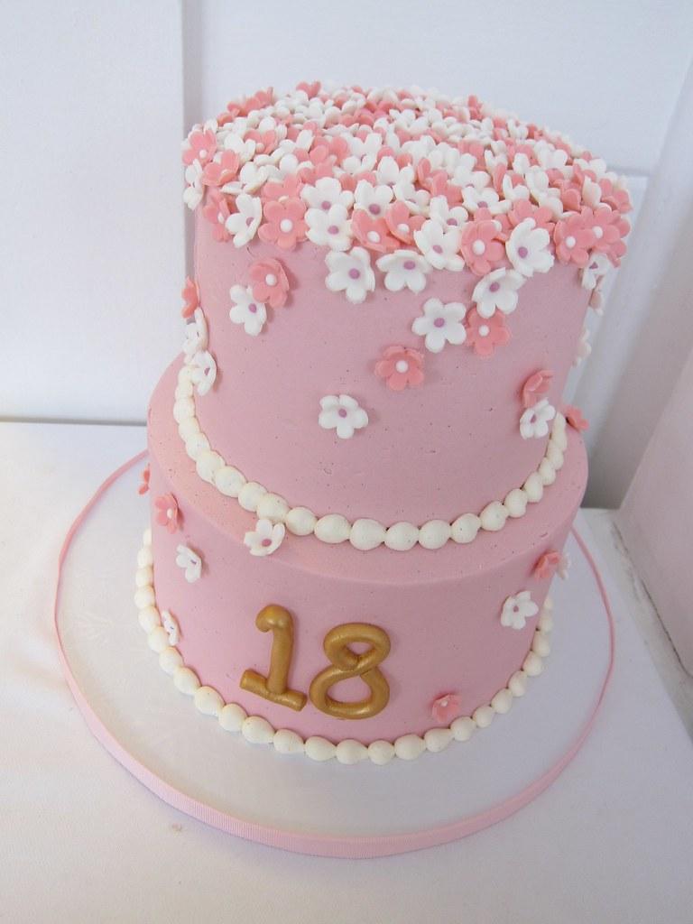 Fine Flowers 18Th Birthday Cake Polkadots Olga Flickr Funny Birthday Cards Online Alyptdamsfinfo