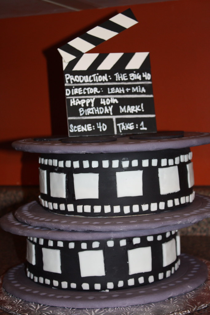 Magnificent Movie Reel Birthday Cake Movie Reel Cake Made For A 40Th B Flickr Funny Birthday Cards Online Alyptdamsfinfo