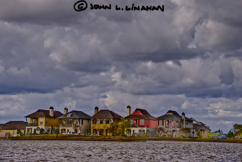 houses sky cloud manipulated pond louisiana traditional neighborhood development sugarmill youngsville d60 photomatix tamron18200mm 5189 exposurefusion nikon2010subdivision