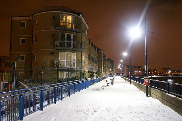 Erith Riverside in the Snow at Night, 2010