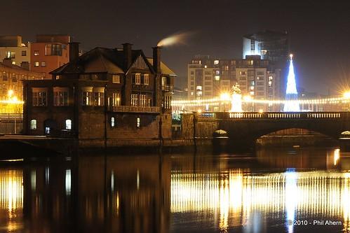 christmas tree night reflections lights boathouse limerick rive