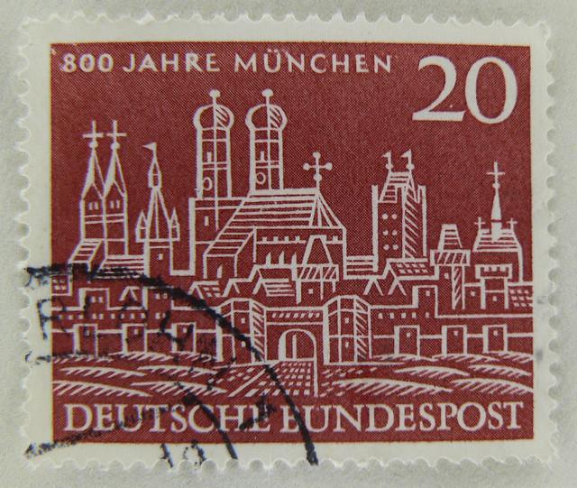 old stamp Germany 20pf. anniversary Munich 800 Jahre München postzegel Duitsland 800 years Munich timbre Allemagne selo Alemanha Briefmarke Deutschland 20Pf francobolli Germania perangko Jerman pulları Almanya 德国的 邮票 慕尼黑 टिकटों जर्मनी znaczki Niemcy
