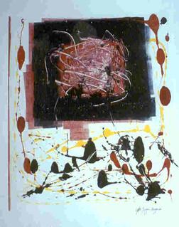 Art Contemporain, Jurgen Borgers, carré rouge et bleu, 1992.