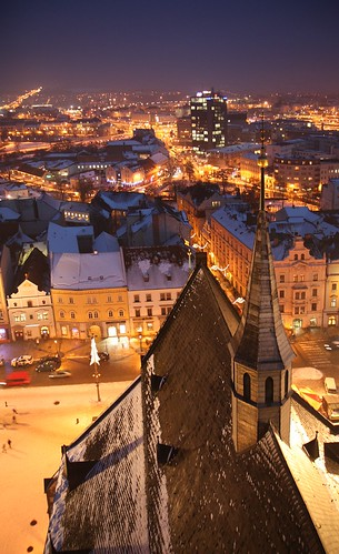 christmas city winter square evening december advent republic czech pilsen 2010 plzeň