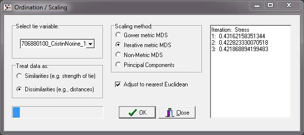 Iterative metric vs  Gower metric   NetDraw 2 098, part of U