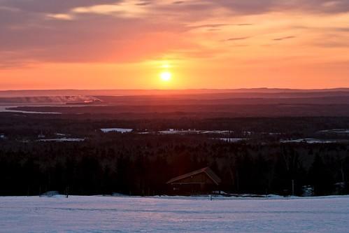 sky snow clouds sunrise chalets stonehame