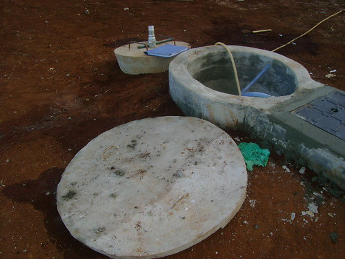 During filling of biogas digester is filled with water | by Sustainable sanitation