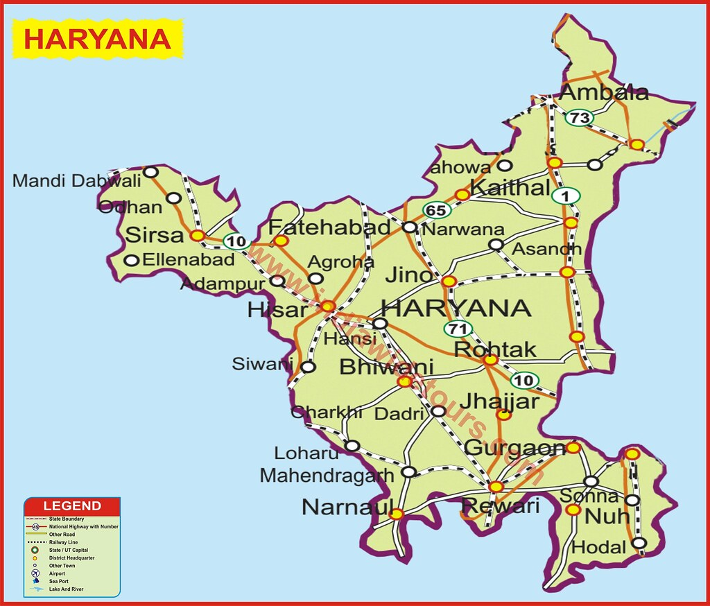 HARYANA | Map of India Tourist Map of India Map of Arunachal