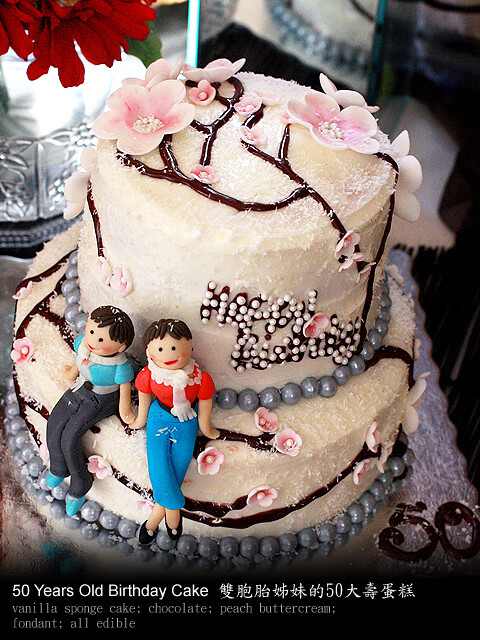Amazing Birthday Cake For Twin Sisters 50 Years Old Helen C Flickr Personalised Birthday Cards Veneteletsinfo