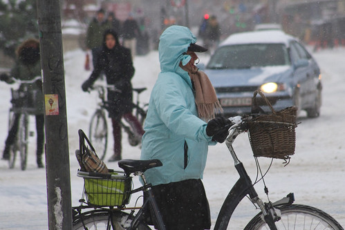 Winter Traffic Copenhagen Blue - Winter Cycling in Copenhagen | by Mikael Colville-Andersen