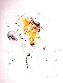 Art Contemporain, Jurgen Borgers, Portrait Transparent Jaune, 1992.
