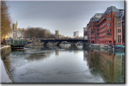 winter ice bristol frozen hdr riveravon bristolbridge photomatix