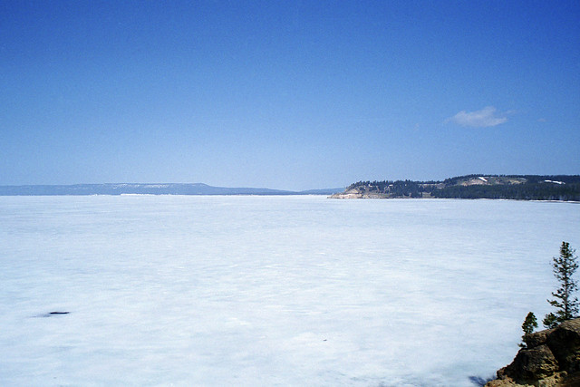 Yellowstone Lake, covered in ice
