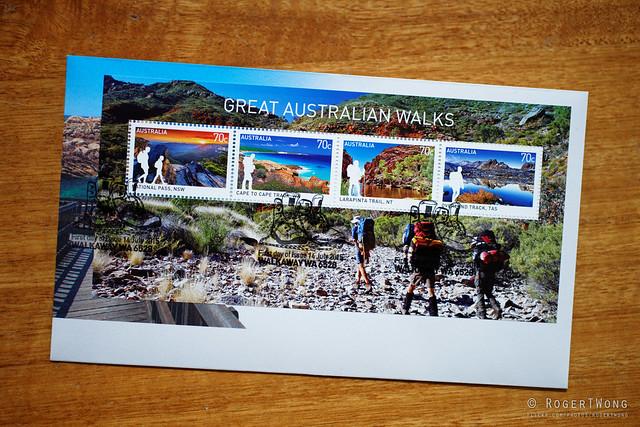 20150728-01-Great Australian Walks stamp minisheet, my photo as background