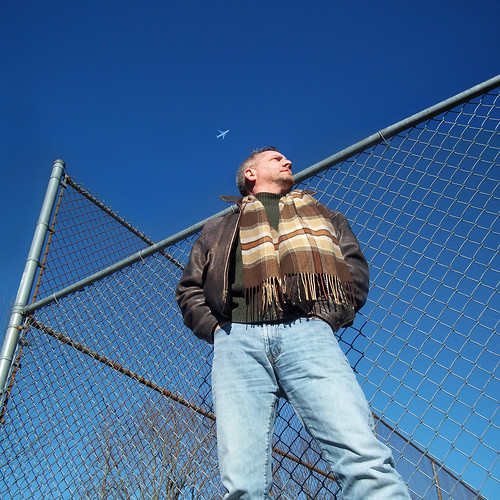 gay portrait sky selfportrait man scarf fence beard jeans leatherjacket saltandpepper project365 davidsullivan davidnewengland