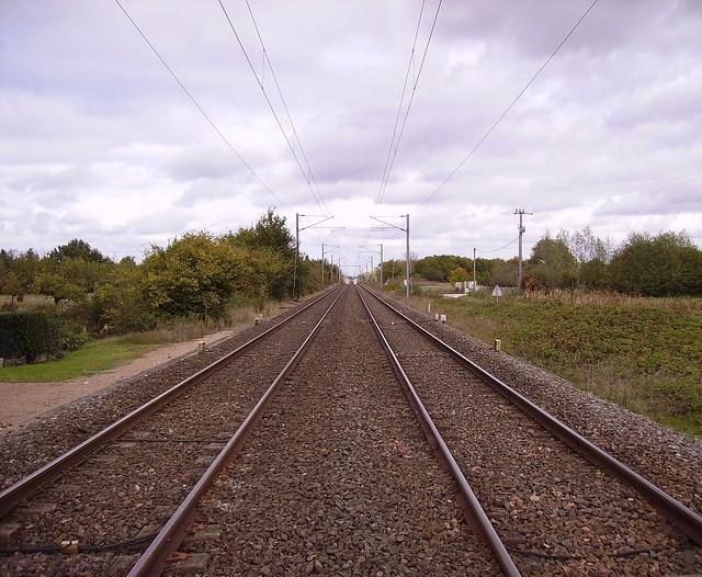 Perspective : voie ferrée électrifiée