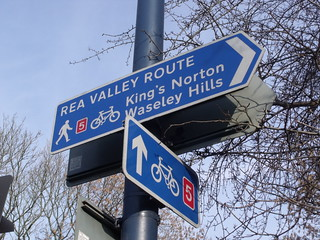 River Rea - Fordhouse Lane, Stirchley - Rea Valley Route sign and NCN5 sign   by ell brown