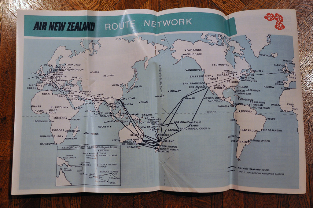 New Zealand Route Map.Air New Zealand Route Map 1972 They Had A Very Contained N Flickr