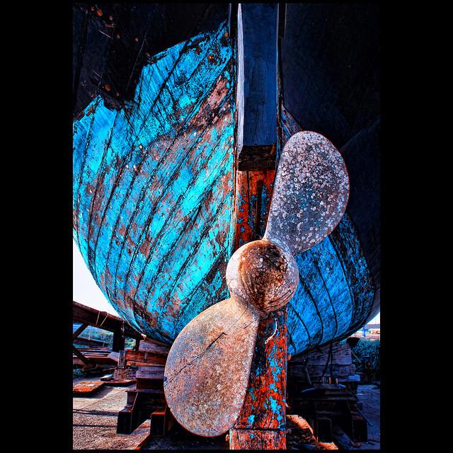 the ship's propeller