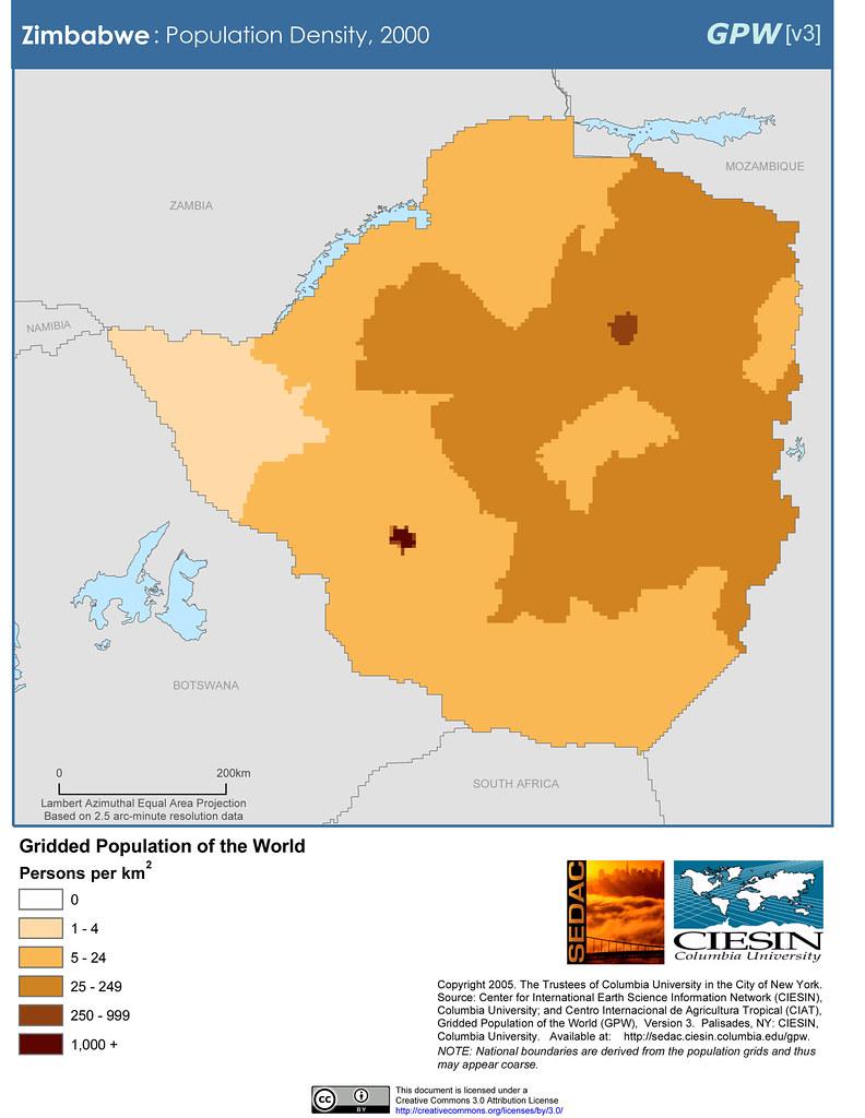 Population Density Map Zimbabwe.Zimbabwe Population Density 2000 Sedacmaps Flickr