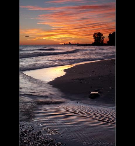 ohio lake reflection beach water skyline sunrise lakeerie ripple cleveland shoreline greatlakes huntingtonbeach bayvillage clevelandmetroparks leefilters canon5dmkii