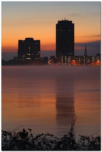 reflection water fog skyline sunrise buildings river dawn louisiana batonrouge mississippiriver mrgreenjeans gaylon canonef85mmf18usm gaylonkeeling