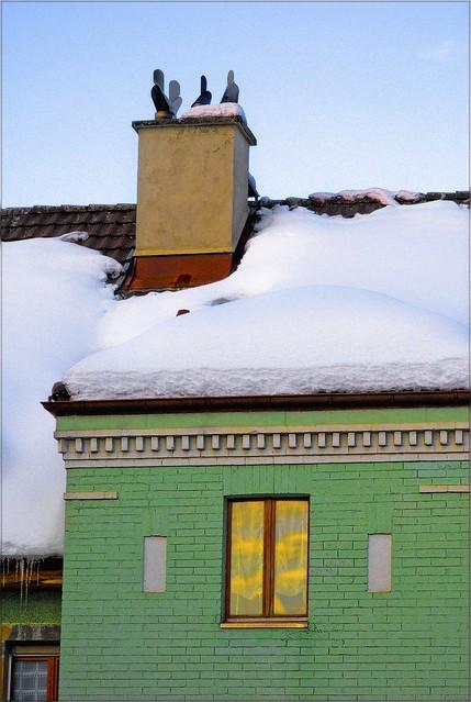 La Chaux de Fonds , a window & a roof in a winter sunset. February 26 , 2009. No. 19.