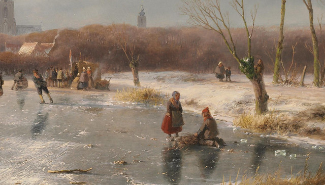 Andreas Schelfhout  - A Dutch winter landscape with many figures on the ice (1860) - Detail