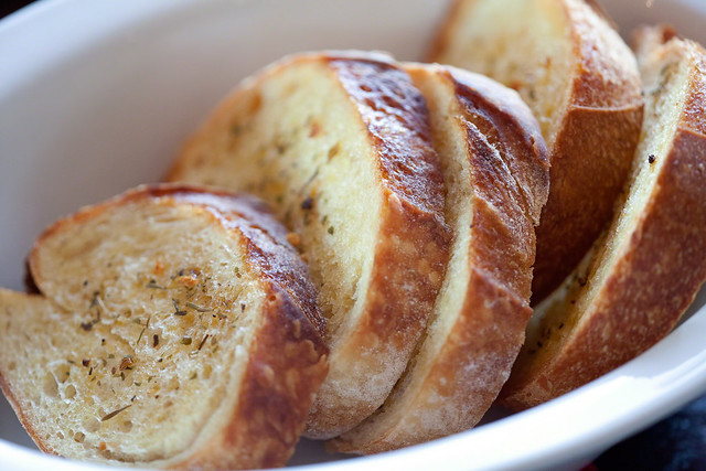 Oven Toasted Bread with Butter & Herbs