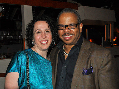 Ariana Hall, WWOZ's Internet Director, with Terence Blanchard, New Orleans jazz trumpeter, arranger and composer extraodinaire.