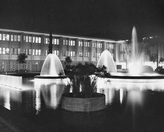 Stanford Hospital and fountains at night | by Stanford Medical History Center