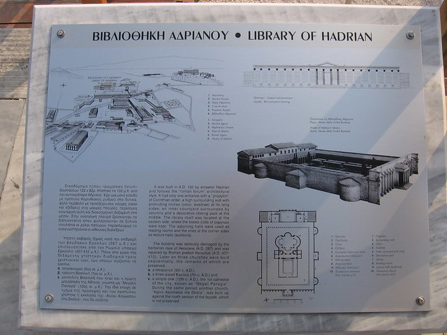 """Rome: the Metro C Archaeological Surveys: the Piazza Madonna di Loreto, (Site # S14/B1). Plan / Model: Hadrian's Library """"Atheneuam"""" in Athens. ca. 132 AD."""