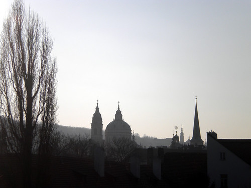 Smoky Prague skyline