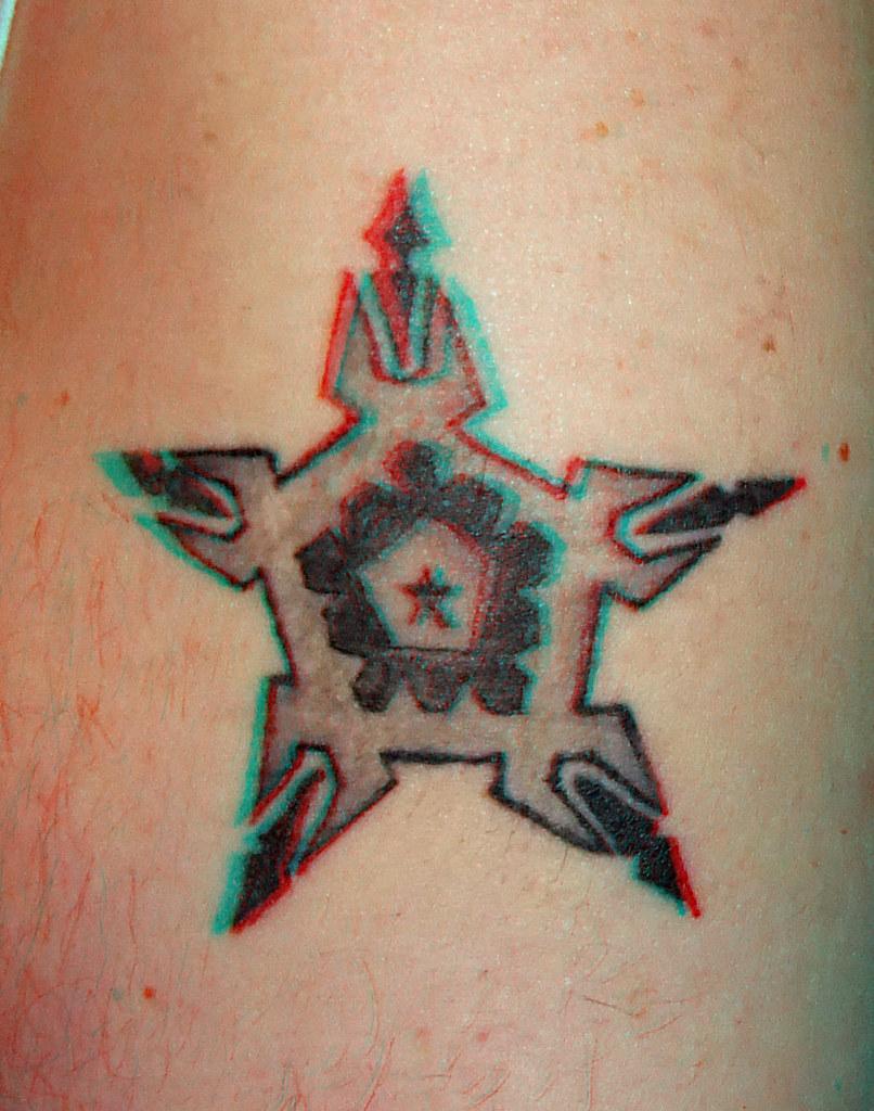 Stargate Sokar Tattoo in anaglyph 3D red blue glasses to v