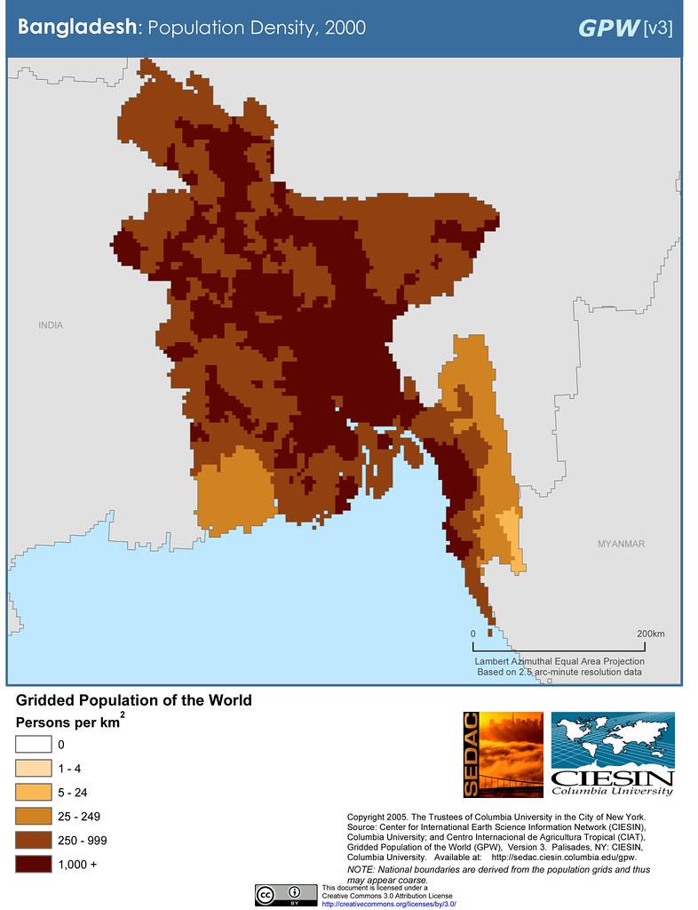 Bangladesh Population Density 2000 SEDACMaps