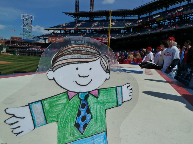 Flat Stanley on the Phillies Dugout