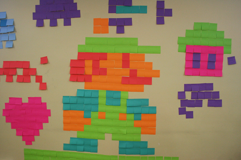 Pixel Art En Post It At Geekfestmtl 2011 Crédit Photo Car