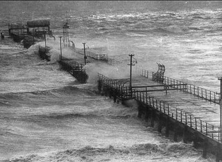 Largs jetty during a storm, 1953