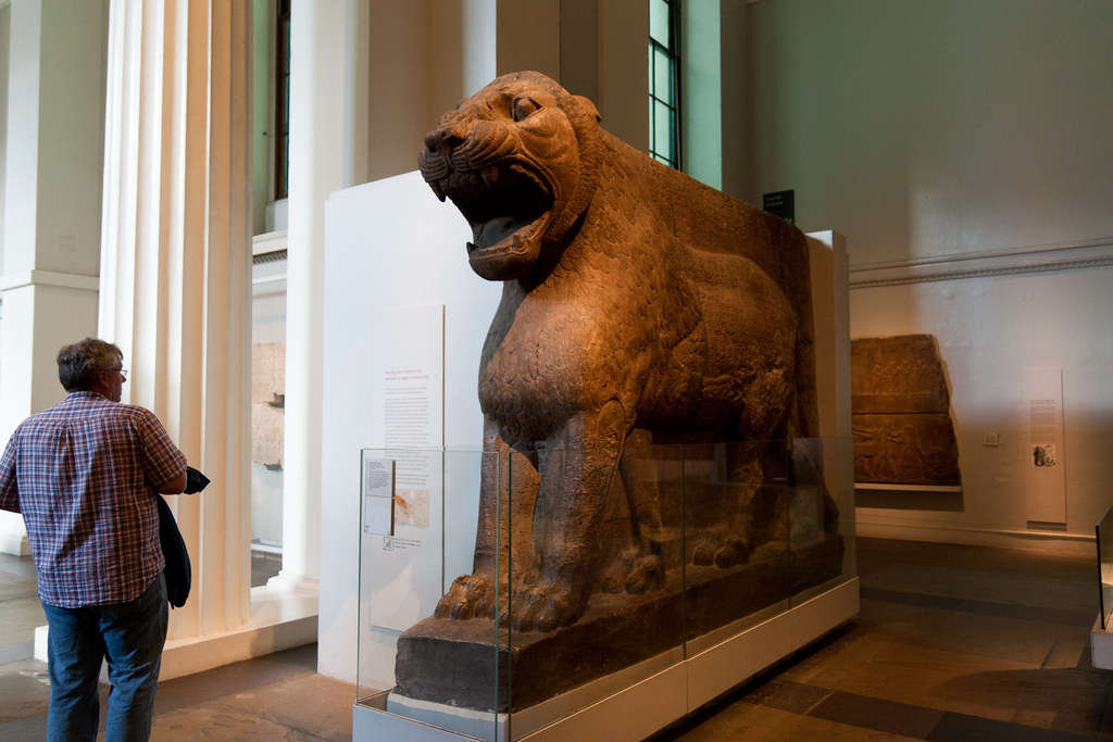 Colossal statue of a lion from Nimrud (ancient Kalhu), northern Iraq Neo-Assyrian,  about 883-859 BC  The British Museum allows photo shooting providing there is no financial gain.  Please respect their policy