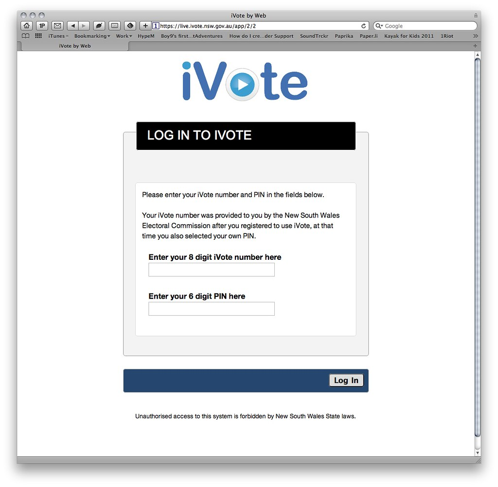 iGeek and iVote - NSW State Elections online voting interf