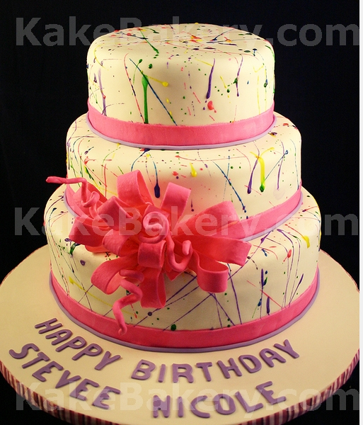 Stupendous Paint Splatter Birthday Cake A Photo On Flickriver Personalised Birthday Cards Sponlily Jamesorg