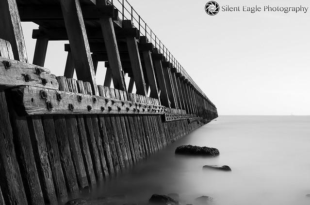 Wooden Sea Wall - Blyth Beach (B&W)
