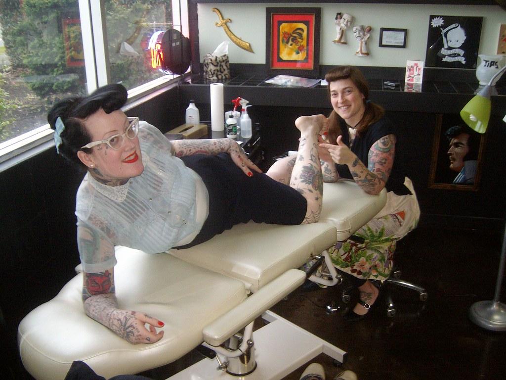 Kiley gettin her Elvis tattoo by Amanda Kill
