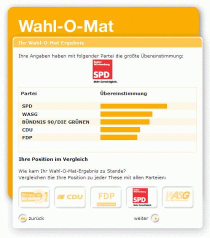 Wahlomat Baden Württemberg