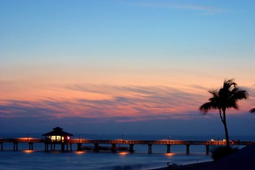 ocean longexposure sunset beach water clouds pier florida shore fortmyers abigfave flickrchallengegroup flickrchallengewinner