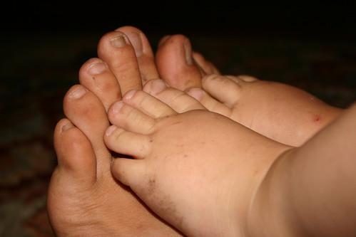 big feet, little feet.